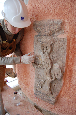 Craigievar Castle: Stone Conservator at work.