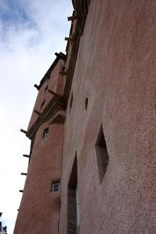 Craigievar Castle: harling detail.