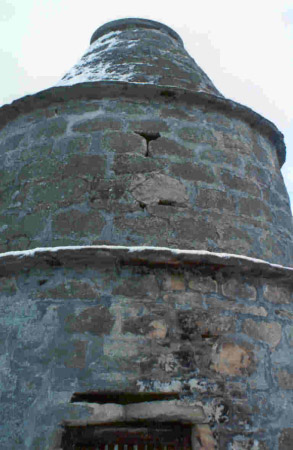 New Elgin Doocot: after damaged lime harling has been removed.