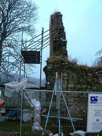 Before works: leaning gable wall.