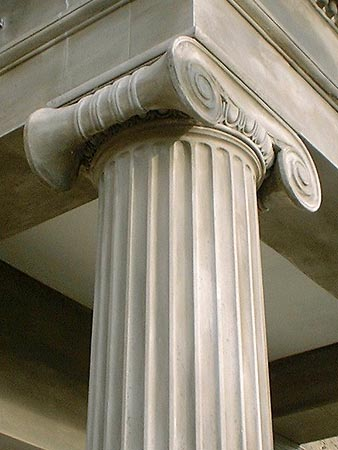 After works: Ionic capital and fluted column.