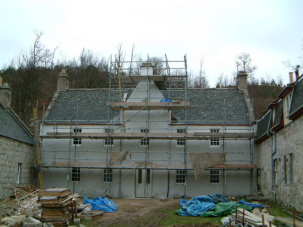 Balnacraig House: front elevation during works.
