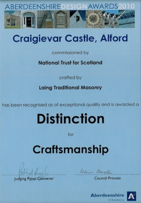 Craigievar Castle - Aberdeenshire Design Awards Distinction in Craftsmanship