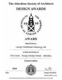 Kings College Crown - Aberdeen Society of Architects Design Awards 2010
