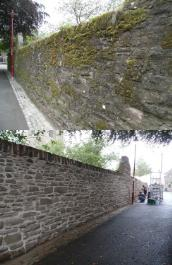 Before and after the repairs to the Cathedral Wall on Channonry Wynd, Brechin.