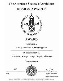 Commended in the Conservation category, Aberdeen Society of Architects Design Awards 2010