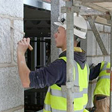Photograph of a Trainee completing Lime Mortar Pointing