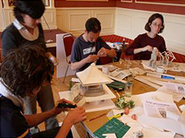 Photograph showing students designing and model building.